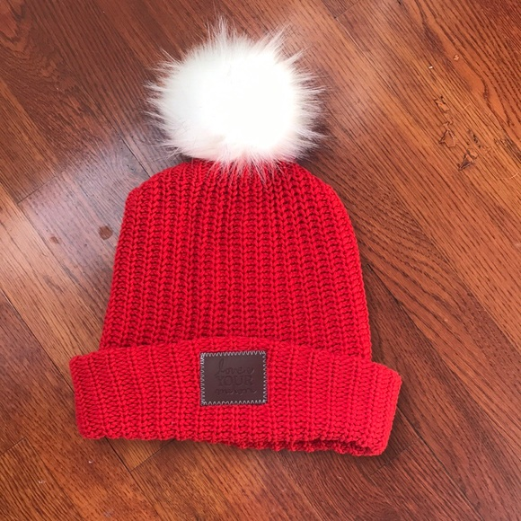de57c83ccca89 Love Your Melon Accessories - Love Your Melon Red Slouchy Cuffed Pom Pom  Beanie
